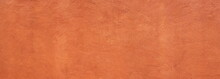 Abstract Panorama Image Of Orange Clay Wall Grunge Texture Background For Interior Decoration.
