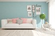 Leinwandbild Motiv Stylish room in blue color with sofa. Scandinavian interior design. 3D illustration