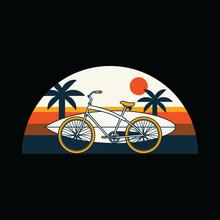 Bike Surf Summer Beach Graphic Illustration Vector Art T-shirt Design
