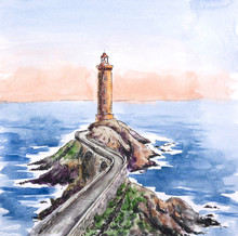 The Lighthouse On The Rock Bridge Going Into The Sea