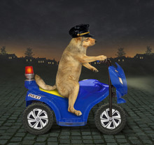 The Dog Policeman In A Black Cap Is Riding A Blue Motorbike At Night.