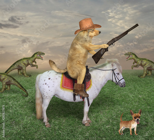 The beige dog cowboy in a brown hat and boots astride the white horse grazes a herd of dragons on its ranch Wallpaper Mural