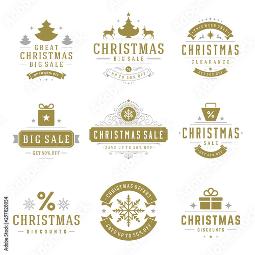 Fototapeta Christmas sale labels and badges with text typographic decoration design vector vintage style set obraz na płótnie
