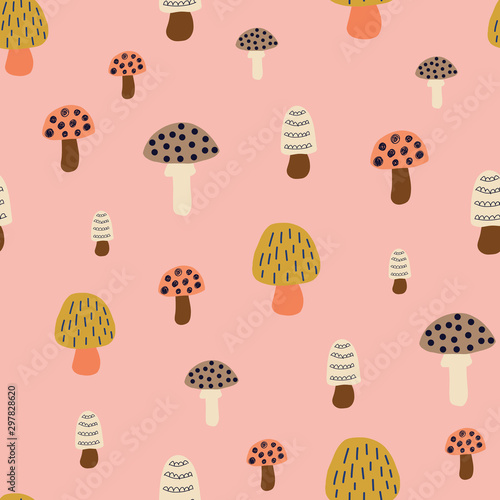 Fototapeta Mushroom seamless vector pattern. Modern doodle background hand drawn mushroom nature illustration in pink white brown gold. For kids fabric, fall decoration, Thanksgiving card, surface pattern design obraz