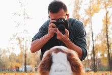 Man Taking A Photo Of His Dog In The Park. Male Photographer Working With A Dog Outdoors