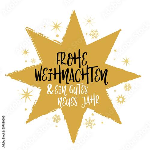 Fotografía  Frohe Weihnachten und ein gutes neues Jahr Kalligraphie - Stern