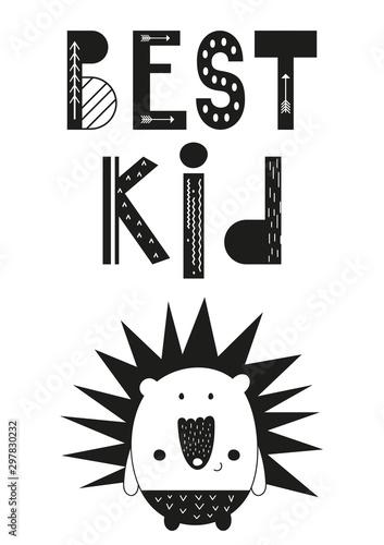 plakat-do-projektu-skandi-z-uroczym-jezem-i-tekstem-najlepsze-dziecko-w-skandynawskim-stylu-ilustracja-wektorowa-ilustracja-dla-dzieci-ubrania-karty-z-pozdrowieniami-papier-pakowy-czarny-i-bialy
