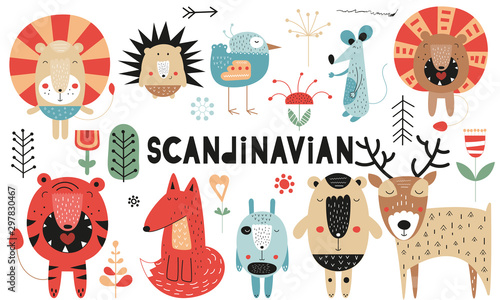 Cute scandinavian animals set Canvas Print