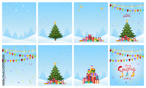 Fototapeta New Year s collection of greeting cards. Set of patterns with a winter forest, decorated Christmas tree, flags, snow and gifts. Flat cartoon vector. obraz