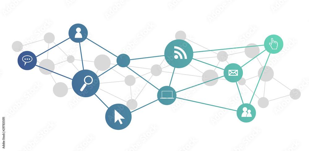 Fototapeta icone, informatica, rete sociale, connessione internet