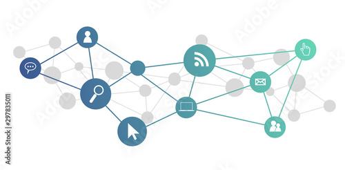 Fototapeta icone, informatica, rete sociale, connessione internet obraz