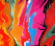 Leinwandbild Motiv Bright colorful abstract background made with mixed paint. Acrylic texture with marble pattern. Wallpaper, Contemporary art, Digital Art, abstract liquid.