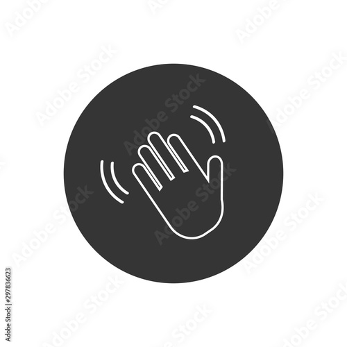 Hand wave waving hi or hello gesture line art icon for apps and websites Wallpaper Mural