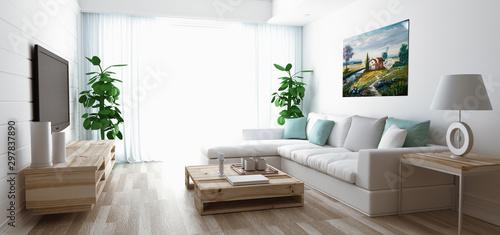 Luxury Modern Living Room, 3d rendering illustration Fototapete