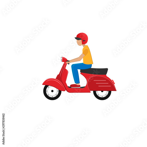 Motor scooter with driver. Scooter, vector illustration Fototapeta