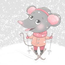 Christmas And Happy New Year Card With Little Cartoon Mouse Skier