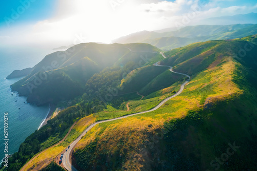Fotografija  Aerial view of Marin Headlands and Golden Gate bay at sunset