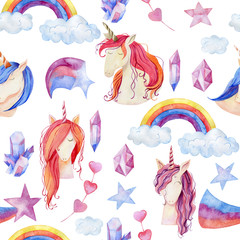Watercolor cute unicorns
