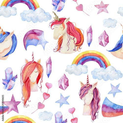Watercolor cute unicorns
