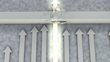 Top View Leader Arrow Breaks Through Wall, Stronger Faster Competitor Wins Race