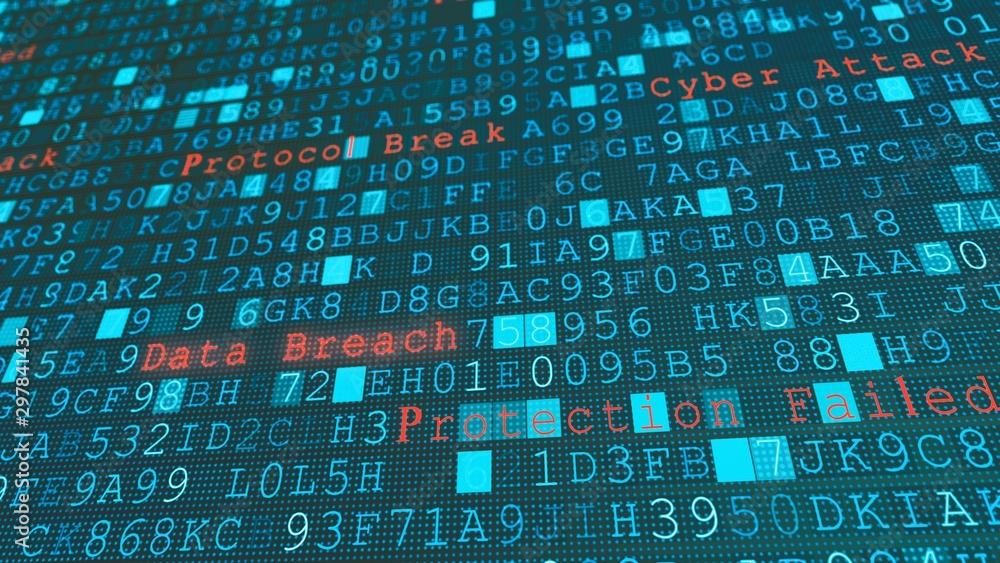 Fototapeta Digital wall virus data breach, system failure due to hacker server cyber attack