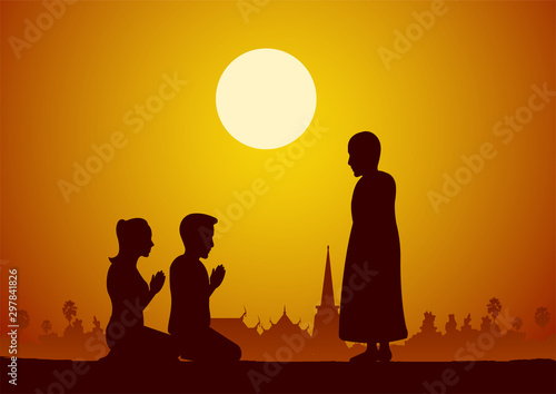 Photo Buddhist woman and man pay respect to monk politely with faith and believe,silho