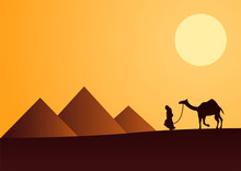 Sphinx,Pyramid Famous Landmark Of Egypt,silhouette Style,vector Illustration