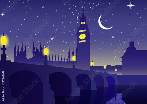 Big Ben clock famous landmark of England London,night scene,silhouette style,vector illustration
