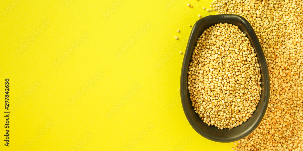 Fototapety, obrazy: quinoa grain (porridge, superfood is healthy snack) menu concept. food background. copy space. Top view