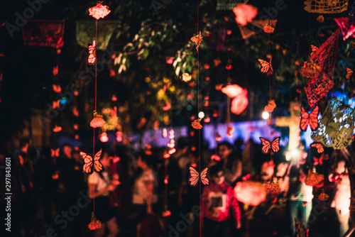 Day of the Dead night celebration in Oaxaca, colorful night of  day of the dead Fototapet