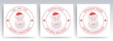 Christmas Round Stamp With The Face Of A Merry Santa Claus, Set