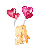 Cute Rabbit Swings With Heart Balloons. Valentine's Day Hand Drawn Greeting Card