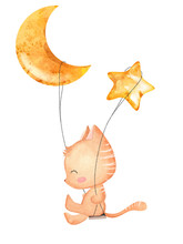 Cute Cat Swings With Moon And Star. Hand Drawn Watercolor Illustration
