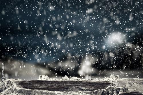 Foto auf Gartenposter Schwarz Snow background of free space and christmas tree