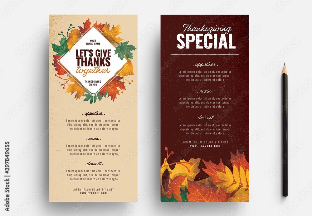 Fototapety, obrazy: Thanksgiving Menu Layout with Leaf Illustrations