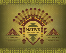 Native American Heritage Day. Celebrating Indian Culture. Tribal Design For Poster, Card, Banner.