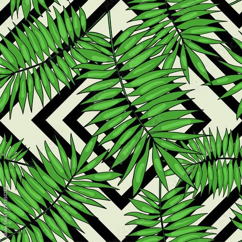 Ingelijste posters Tropische Bladeren Vector seamless pattern with tropical palm leaves on black and white background. Good for printing. Wallpaper, textile and fabric design. Wrapping paper pattern. Cute pattern.