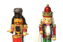 Christmas Nutcracker Toy Soldiers Traditional Figurine Isolated On White Background.