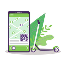 Scooter Sharing. Ecological Electric Green Scooter. On The Phone Screen, An Application With A Rental Platform For Urban Mobile Transport. Lime Scooter On A White Background With Leaves. Vector