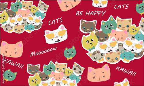 Vector pattern in Kawaii style with Kawaii Cat characters, text on a red background