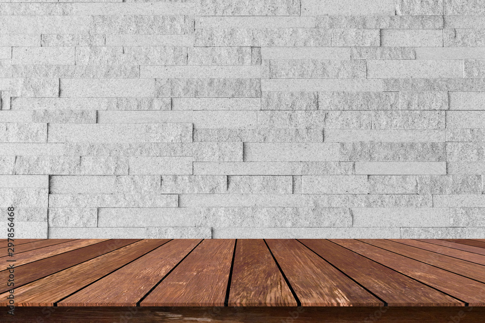 Fototapety, obrazy: closeup building exterior gray brick cement wall background texture with old wood perspective counter for show,ads,design product on display concept