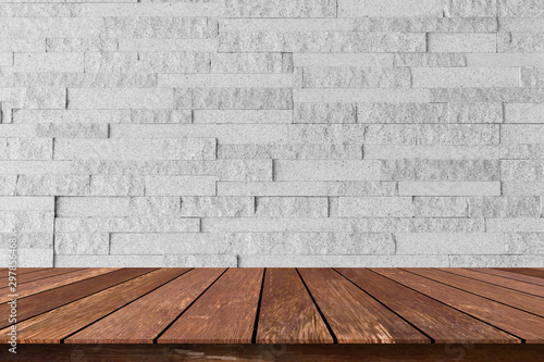 closeup building exterior gray brick cement wall background texture with old wood perspective counter for show,ads,design product on display concept