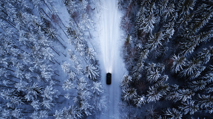 Aerial view of a car on win...