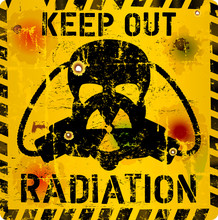 Radiation Warning Sign, Skull And Gas Mask, Grungy Style,vector Illustration