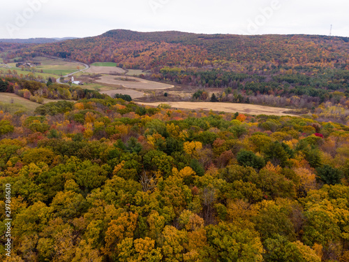 Valokuvatapetti Drone photo of peak foliage upstate New York during the autumn fall season
