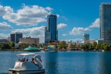 Orlando, Florida. October 12, 2019. Nice Couple Enjoying Swan Boat At Lake Eola Park 1.