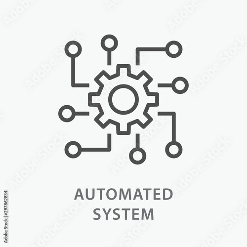 Fotografia Automated system line icon on white background.