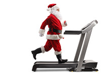 Santa Claus Running On A Tread...
