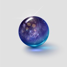 Magic Glass Ball On A White Background, Round Gem, Crystal Ball