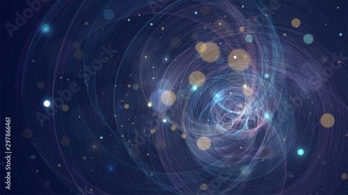 Streszczenie tło ze świecącą strukturę geometryczną, sieć, układ gwiazd, fraktal